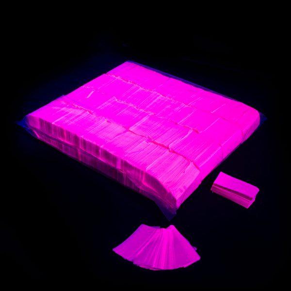 Confeti rectangular fluo rosa